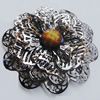 Iron Cabochons With Resin Beads. Fashion Jewelry Findings. Lead-free. Flower 59mm. Sold by Bag