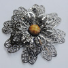 Iron Cabochons With Resin Beads. Fashion Jewelry Findings. Lead-free. Flower 64mm. Sold by Bag