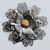 Iron Cabochons With Resin Beads. Fashion Jewelry Findings. Lead-free. Flower 65mm. Sold by Bag