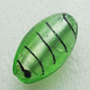 Silver Foil Lampwork Beads, oval 29x17mm, Hole:Approx 2mm, Sold by PC