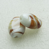 Hand-Made Lampwork Beads, flat oval 19.5x14mm,8mm Hole:About 2mm, Sold by PC