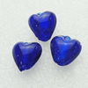 Silver Foil Lampwork Beads, heart 13x13mm,8.5mm Hole:Approx 1.5mm, Sold by PC