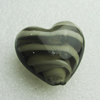 Hand-Made Lampwork Beads, heart 28x28mm,thickness 16mm Hole:About 2mm, Sold by PC
