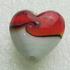 Hand-Made Lampwork Beads, heart 20x20mm,thickness 12.5mm Hole:About 1.5mm, Sold by PC