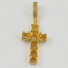 Copper Pendant Settings, Fashion Jewelry Findings,  cross 25x9x4mm, Sold by Bag