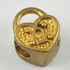 Copper European Style Beads, Fashion Jewelry Findings, Lead-free, heart 13x10x8mm Hole:5mm, Sold by Bag