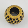 Copper European Style Beads, Fashion Jewelry Findings, Lead-free, 8x11x11mm Hole:5mm, Sold by Bag
