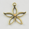 Copper Pendant Settings, Fashion Jewelry Findings, flower 24x22x5mm, Sold by Bag