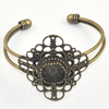 Copper Bracelet with Iron settings, Settings's inner dia:12mm, Sold by PC