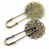 Iron Brooch, Fashion Jewelry Findings, 29x58mm, Sold by Bag