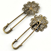 Iron Brooch, Fashion Jewelry Findings, 28x58mm, Sold by Bag