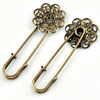 Iron Brooch, Fashion Jewelry Findings, 22x58mm, Sold by Bag