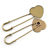 Iron Brooch Settings, Length:70mm, inner dia:24x24mm, Sold by Bag