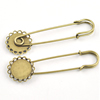 Iron Brooch Settings, Length:70mm, inner dia:12mm, Sold by Bag