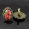 Rings,Zincalloysettingswithresincameos,Headsize:32x25mm,adjustable,SoldByPC