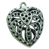 Hollow Bali Pendant. Fashion Zinc Alloy Jewelry Findings. Heart 28x24mm. Sold by Bag
