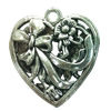 Hollow Bali Pendant. Fashion Zinc Alloy Jewelry Findings. Heart 39x36mm. Sold by PC