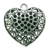 Hollow Bali Pendant. Fashion Zinc Alloy Jewelry Findings. Heart 35x34mm. Sold by PC