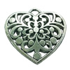 Hollow Bali Pendant. Fashion Zinc Alloy Jewelry Findings. Heart 30x33mm. Sold by PC