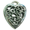 Hollow Bali Pendant. Fashion Zinc Alloy Jewelry Findings. Heart 30x25mm. Sold by PC