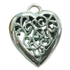 Hollow Bali Pendant. Fashion Zinc Alloy Jewelry Findings. Heart 47x40mm. Sold by PC