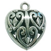 Hollow Bali Pendant. Fashion Zinc Alloy Jewelry Findings. Heart 32x27mm. Sold by PC
