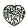Hollow Bali Pendant. Fashion Zinc Alloy Jewelry Findings. Heart 48x45mm. Sold by PC