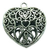 Hollow Bali Pendant. Fashion Zinc Alloy Jewelry Findings. Heart 32x29mm. Sold by Bag