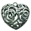 Hollow Bali Pendant. Fashion Zinc Alloy Jewelry Findings. Heart 35x35mm. Sold by PC