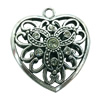 Hollow Bali Pendant. Fashion Zinc Alloy Jewelry Findings. Heart 43x38mm. Sold by PC