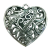 Hollow Bali Pendant. Fashion Zinc Alloy Jewelry Findings. Heart 50x52mm. Sold by PC