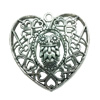 Hollow Bali Pendant. Fashion Zinc Alloy Jewelry Findings. Heart 65x63mm. Sold by PC