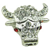 Crystal Zinc alloy Beads, Fashion jewelry findings, Many colors for choice, Animal 20x22mm, Sold By PC
