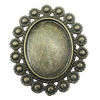 Zinc Alloy Brooch Settings, inner dia:23.5x30.3mm, Sold by PC