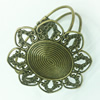 Copper bracelet settings, Fashion Jewelry accessories, Head inner dia:28.5x34.5mm, Sold by PC