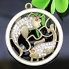 Crystal Zinc alloy Pendant, Fashion jewelry findings, Many colors for choice, Animal 49x44mm, Sold By PC