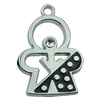 Crystal Zinc alloy Pendant, Fashion jewelry findings, Many colors for choice, 24x14mm, Sold By PC