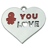 Zinc Alloy Enamel Pendant. Fashion Jewelry Findings. Heart 38x33mm. Sold by PC