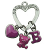 Crystal Zinc alloy Pendant, Fashion jewelry findings, Many colors for choice, Heart 22x40mm, Sold By PC