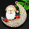 Crystal Zinc alloy Pendant, Fashion jewelry findings, Many colors for choice, Santa claus 51x46x14mm, Sold By PC