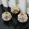 26mm Fashion Crystal European Pendant Metal Gold Plated Round Rhinestone Loose Beads For Necklace Bracelet DIY Jewelry Accessories