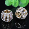 20x16mm Fashion Crystal European Bead Metal Gold Plated Round Rhinestone Loose Beads For Necklace Bracelet DIY Jewelry Accessories