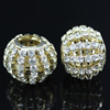 24x19mm Crystal European Bead Metal Gold Plated Round Rhinestone Loose Beads For Necklace Bracelet DIY Jewelry Accessories