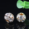 14x12mm Crystal European Bead Metal Gold Plated Round Rhinestone Loose Beads For Necklace Bracelet DIY Jewelry Accessories