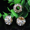 19x14mm Crystal European Bead Metal Gold Plated Round Rhinestone Loose Beads For Necklace Bracelet DIY Jewelry Accessories