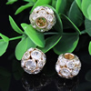16mm Crystal European Bead Metal Gold Plated Round Rhinestone Loose Beads For Necklace Bracelet DIY Jewelry Accessories