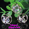 14mm Fashion Crystal Pendant Metal Gold Plated Cubic Rhinestone Loose Beads For Necklace DIY Jewelry Accessories