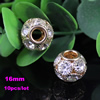 14mm/16mm Crystal European Bead Metal Gold Plated Round Rhinestone Loose Beads For Necklace DIY Jewelry Accessories