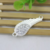 Metal Alloy Wing Connector Silver Plated with Rhinestone For Necklace Bracelet DIY Jewelry Accessories