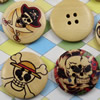 Solid Wooden Button/Beads, Fashion DIY-accessories Mixed color Mixed Pattern Flat Round, 30mm,Hole:3mm Sold by Bag